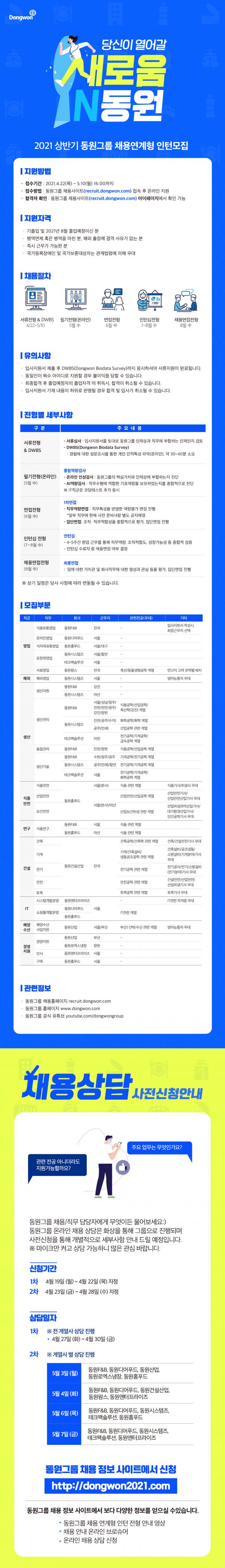 21상 동원그룹 채용연계형 인턴 웹공고문.png
